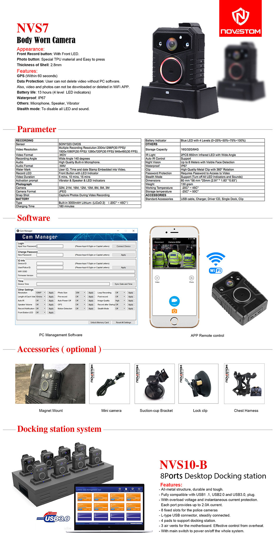 smart wifi body worn security RTSP camera