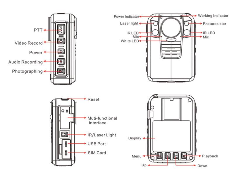 NVS4-B 4G police body worn cameras Appearance description