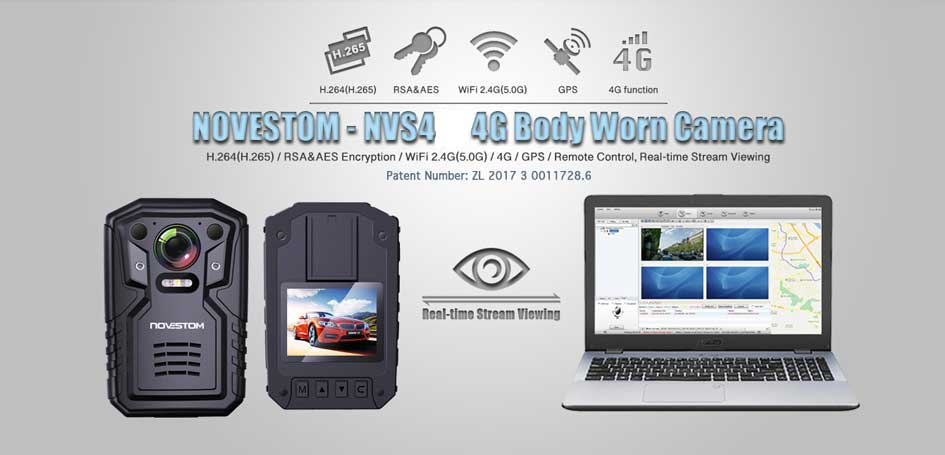 NVS4 4G Police body camera, H.264, AES, WIFI, GPS 4G body worn video camera with 2.0inch LCD real-time view the live streaming video