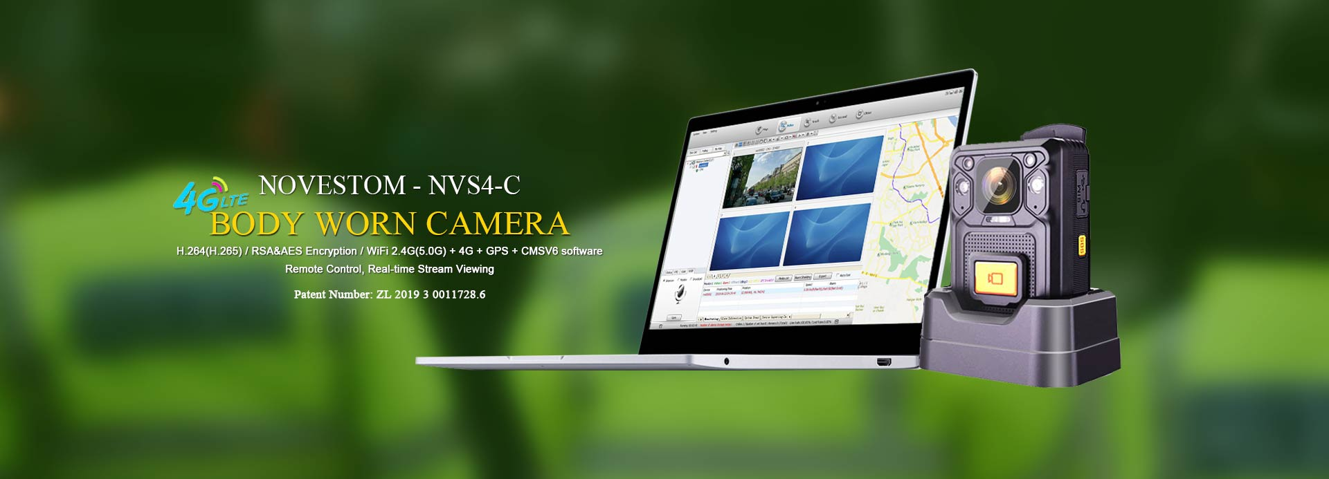 NVS4-C-4G-live-streaming-body-worn-camera-police with SOS GPS WIFI