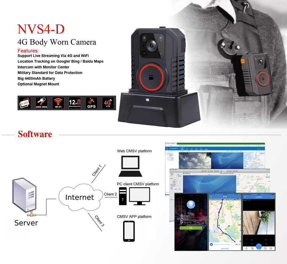 NVS4-D- ADS body worn camera 1440P 4G