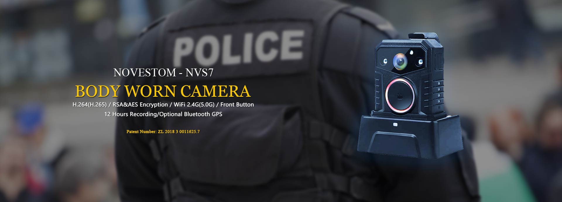 NVS7 wifi police style body worn video security cameras with GPS AES