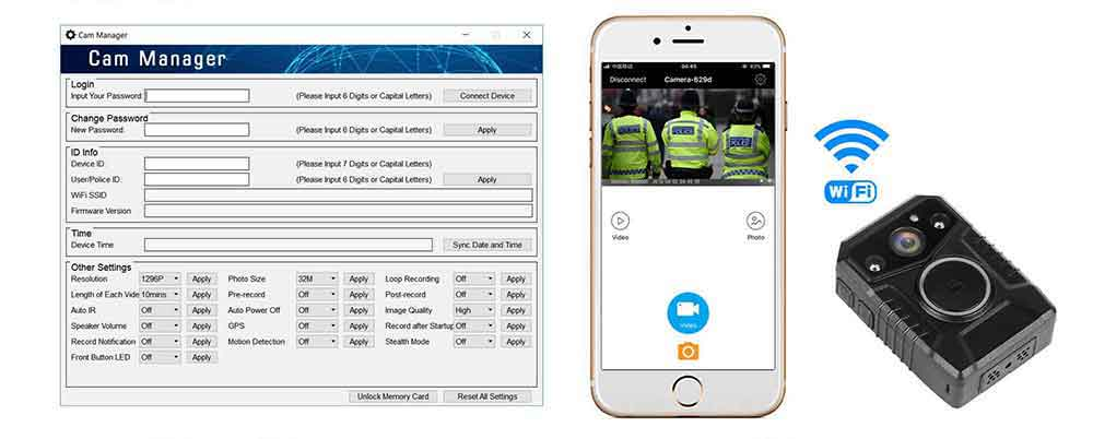 NVS7 wifi body worn police video camera with management software interface