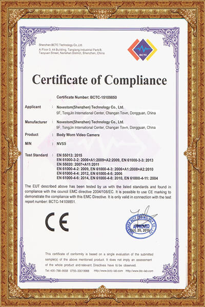 4G body worn camera CE certificate